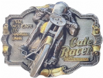 Cafe Racer Gold and Silver Plated Motorcycle Belt Buckle with display stand. Code GE7